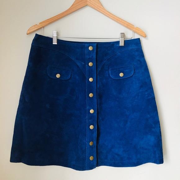 Anthropologie Dresses & Skirts - Anthro - Superb royal blue suede skirt